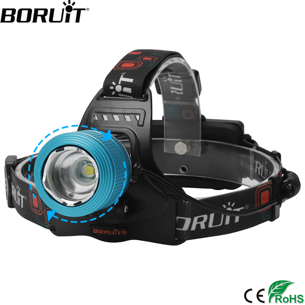 BORUiT 1000LM XML T6 LED Headlight 3-Mode Zoom Headlamp IPX4 Waterproof Head Torch Camping Fishing Flashlight 18650 Battery