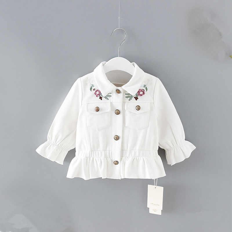 2019 кардиган, Infantil, Детское пальто, весна 2019, детская куртка с цветочной вышивкой, джинсовое пальто для девочек, детская верхняя одежда, 2 цвета, От 0 до 2 лет