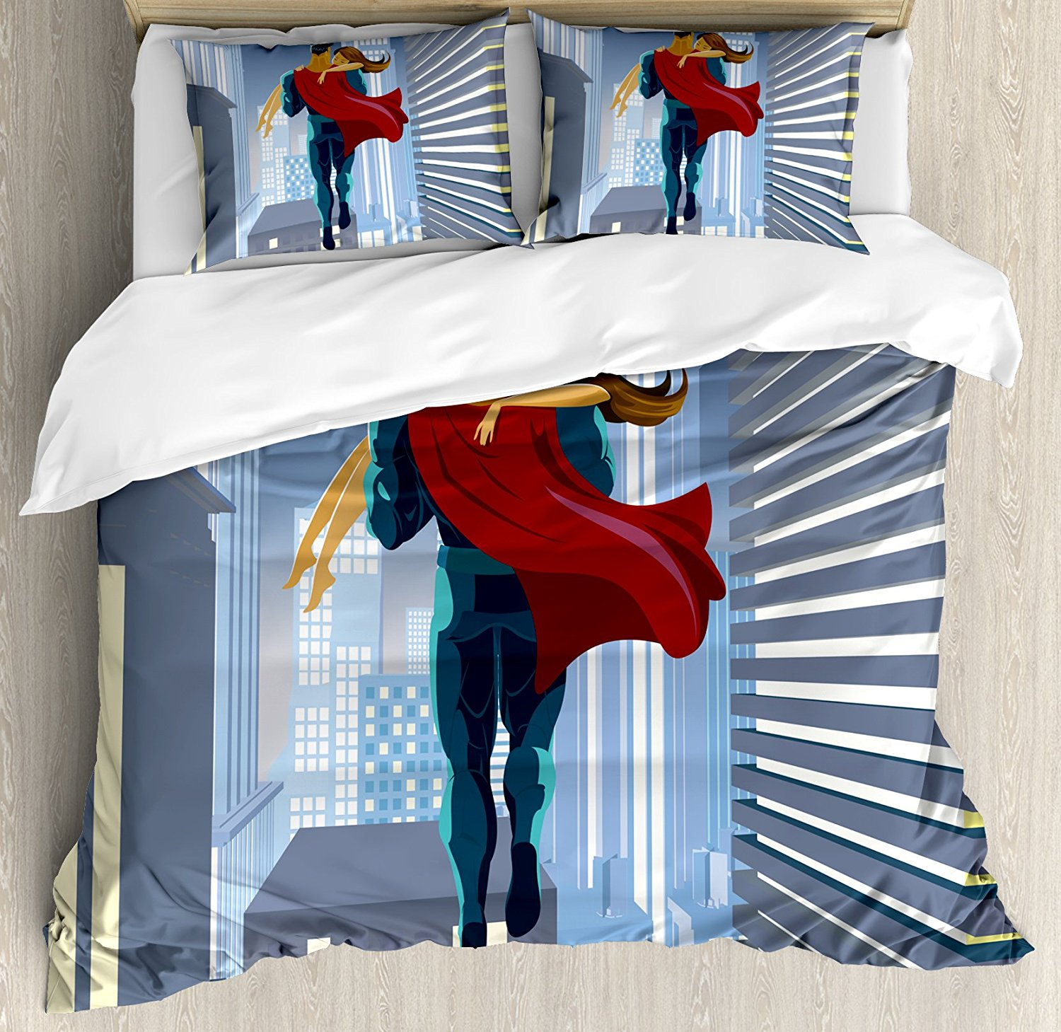 Superhero Duvet Cover Set Romance Man Super Powers Rescues His Beloved Flying in Skyscrapers Love Design 4 Piece Bedding Set