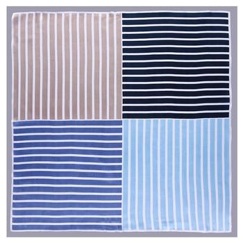 2020 New Fashion Striped Square Scarf Luxury Brand Bandanna Silk Women Head Band Plaid Professional Neckerchief
