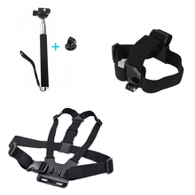 for xiaomi yi Equipment three in 1 Equipment Adjustable Head Strap Chest Strap Mount Monopod with Adapter for Go Professional 1 2 three three+ four sj4000
