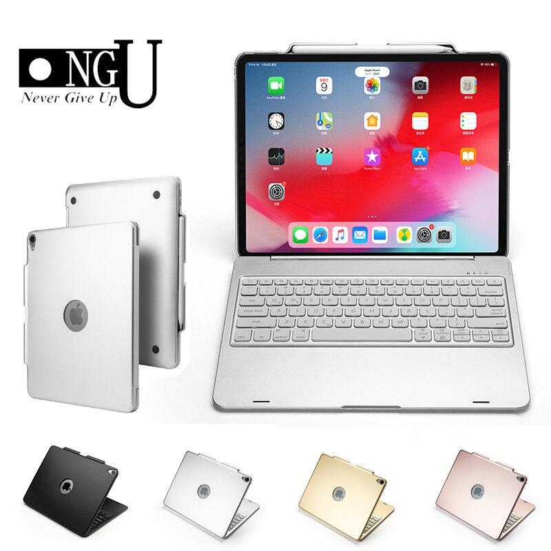 Étui pour clavier bluetooth pour iPad Pro 12.9 2018 sommeil intelligent/réveil housse de protection pour Apple iPad 12.9 2018 Coque 7 couleurs rétro-éclairé