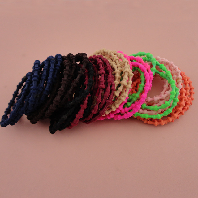 50PCS 4mm Assorted Colors small bamboo balls style Elastic Ponytail holders Hair  bands with glue connection eb7b625a9c6