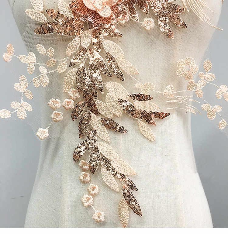 3D Paillettes Ricamo Fiori di Pizzo Grande Fiore Patch di Abbigliamento Gonne Regali Abiti Decorativo Patterning Accessori 46 centimetri * 32.5 centimetri