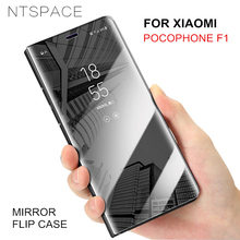 NTSPACE Mirror View Clear Flip Case For Xiaomi Pocophone F1 Stand Holder Cover Max 3 POCO
