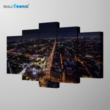 5 panel combination decorative painting Creative home wall art paintings City night photography Amazing scenery