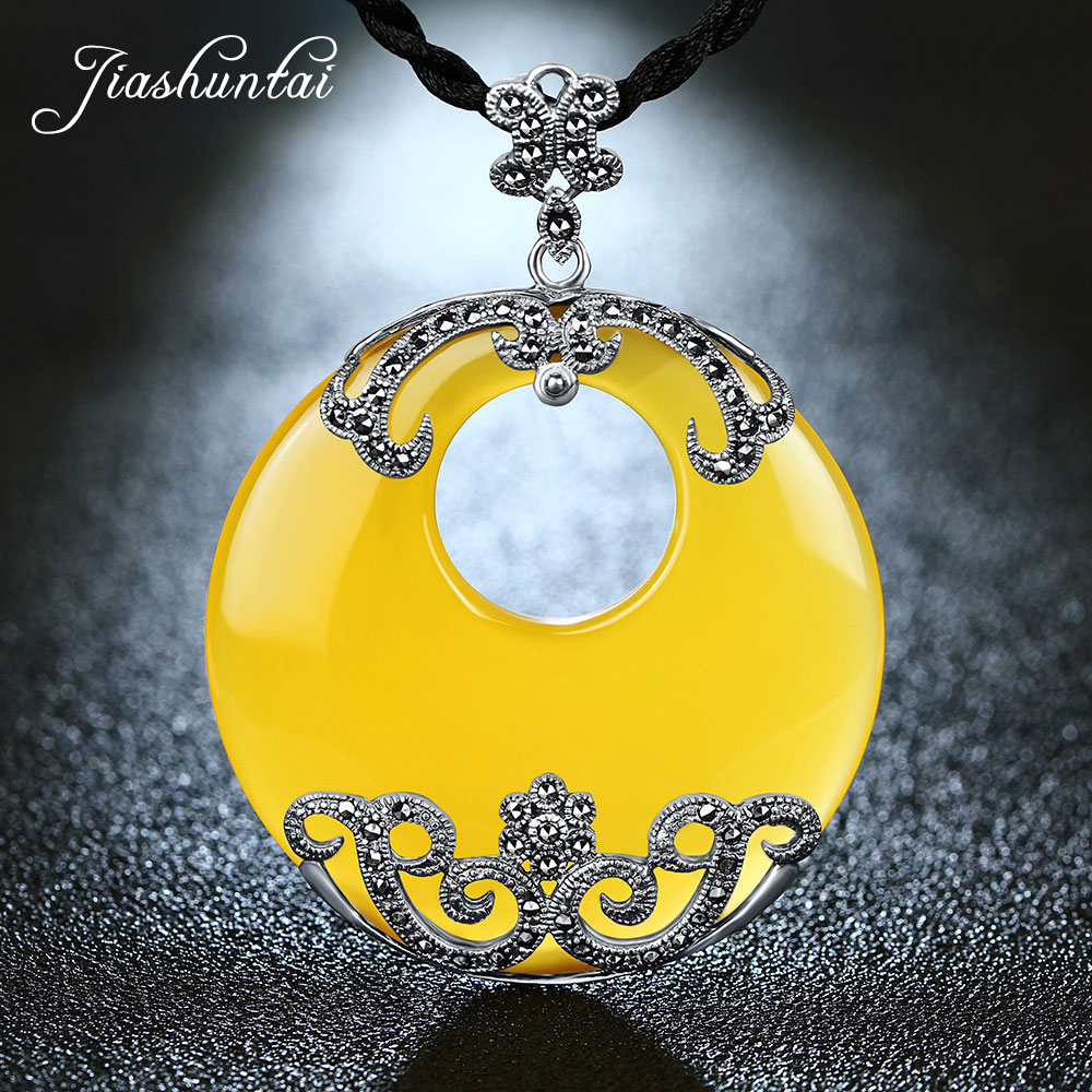 JIASHUNTAI Retro 925 Silver Sterling Yellow Stone Big Round Pendant Necklace Silver Jewelry For Women 925 sterling silver jewelry necklace pendant retro evil vajra pestle jiangmo avoid evil spirits musical instruments