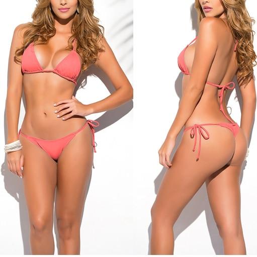 Qatı Bənövşəyi Klassik Thik Bikini Qadın Mayo Yay çimərliyi - İdman geyimləri və aksesuarları - Fotoqrafiya 2