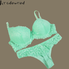 Artdewred brand Thong Bra Set Push Up French Embroidered Lace Womens Underwear Sets ABC Cup And Panty Deep V Brassiere set