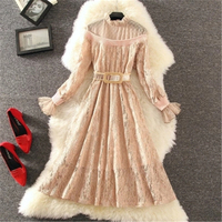 2018 Spring Autumn New Arrive Long Sleeve Lace Dress Women S M L Apricot Pink Black