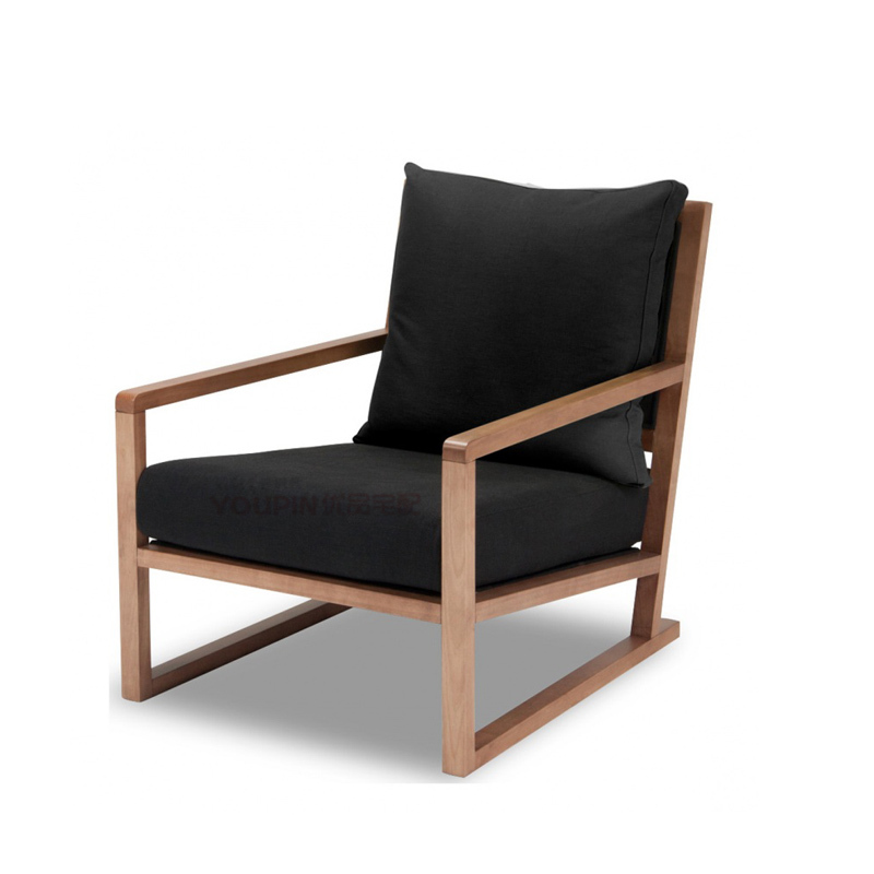 Solid Wood Frame Sofa Thick Edge Of The Seat Recliner Lounge Chair  Lunch Scandinavian Modern Minimalist