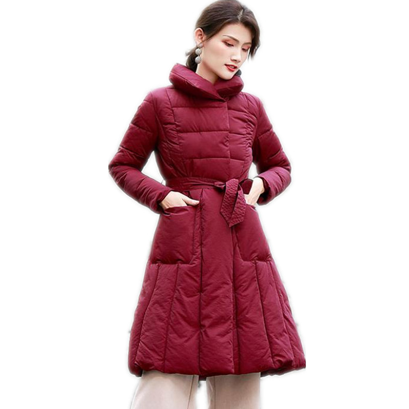 New Winter Women A-Line Down Jackets 2018 Stand-Collar Down Cotton Jacket With Sashes OL Winter Coats Cloak Button   Parkas   CQ2491