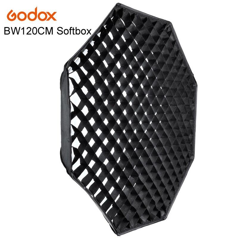 Godox 120 cm Flash octogone Speedlite Studio lumière boîte souple avec grille nid d'abeille parapluie Softbox Bowens mount