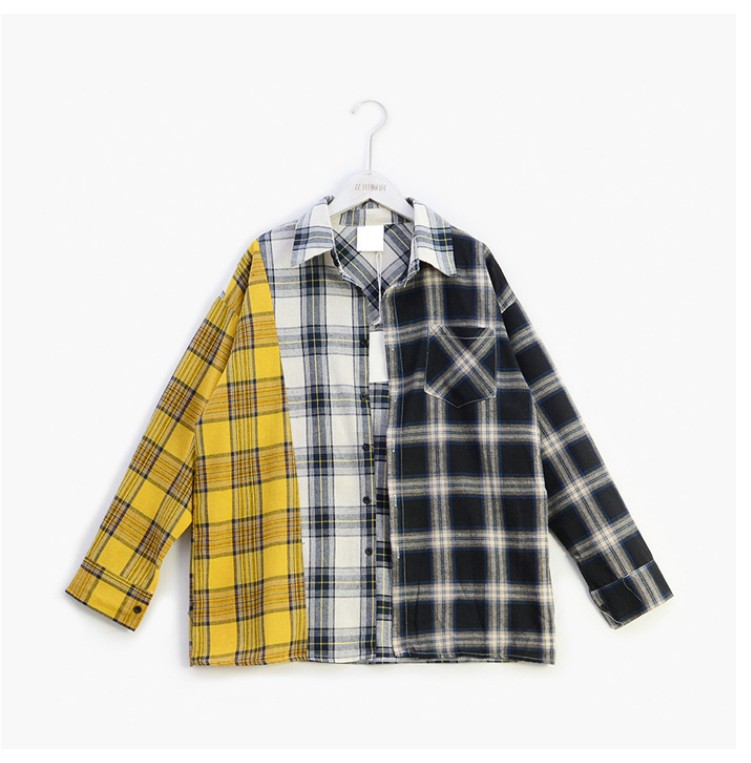 KPOP Plaid Shirt Women Bangtan Boys SUGA Blouse Korea Fashion Plus Size Casual Spring Autumn Splice Shirts