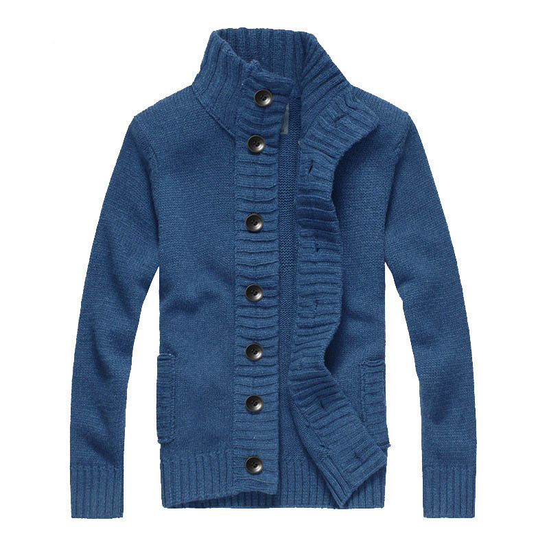 Fashion 2019 Autumn Mens Long Sleeve Cardigan Knitted Sweaters Casual Stand-collar Thick Mens Knitted Outerwear Mens Clothing
