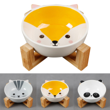 Creative Cute Cartoon Pattern Ceramic Cat Bowl With Bamboo Wood Bracket Dog Stand Pet Supplies