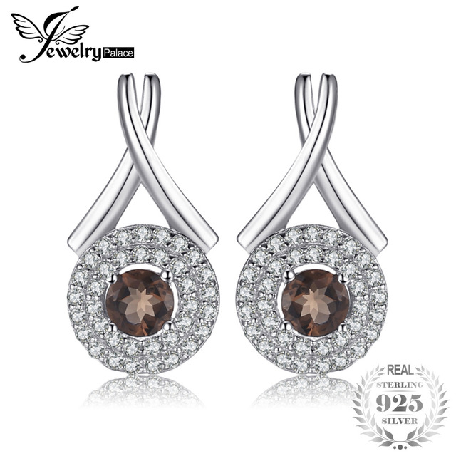 "JewelryPalace Fashion ""X"" marks 0.79ct Round Natural Smoky Quartz Stud Earrings"