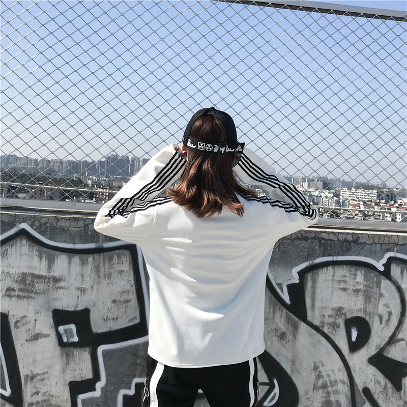 T-shirts Women Long Sleeve Turtleneck Striped Letter Embroidery Harajuku Womens Loose T-shirt Trendy Chic Korean Style All-match 13