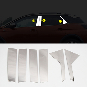 Car Styling Steel Exterior ABS Side B Pillar Stripe Sticker Cover Trim 6pcs For Peugeot 3008 GT 2017 2018 2019