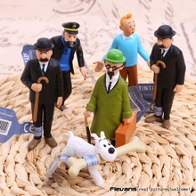 The Adventures of Tintins The Secret of the Unicorn Tintin PVC Action Figure Collectible kids Toys 6pcs/set