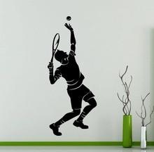 Tenista Silueta Etiqueta de la Pared Sport Series Hombre Jugando Tenis Patrón Mural Tatuajes de Pared de Vinilo Decoración Salón Casa M-42