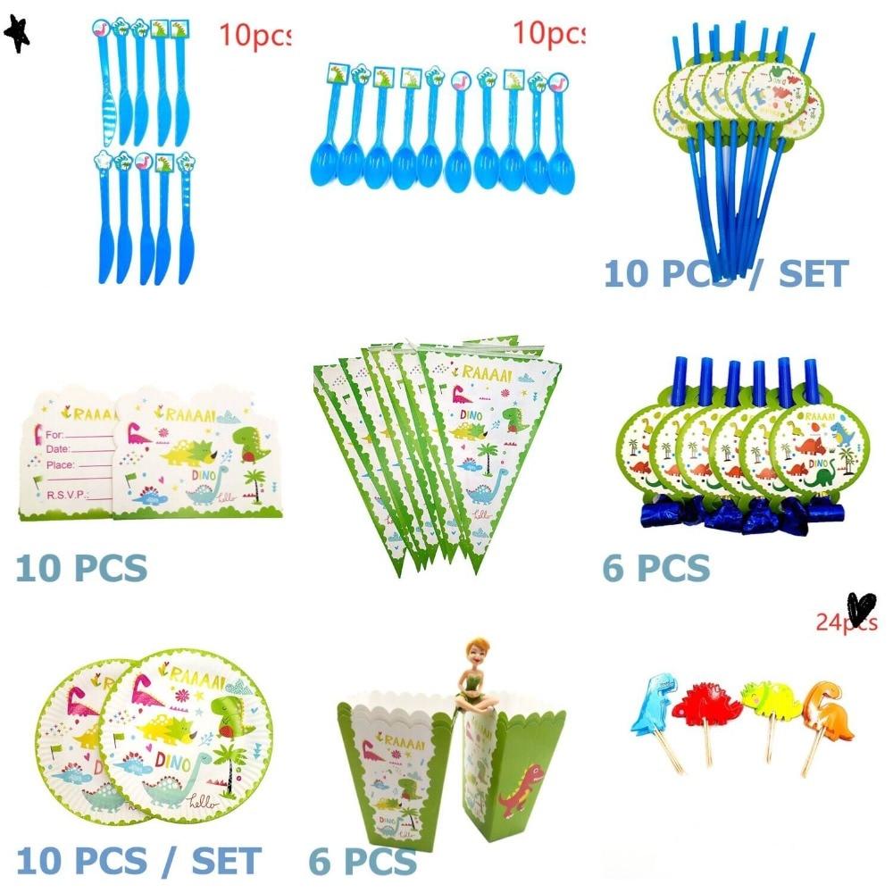 Dinosaurus Party Servies Kits Papier Kopjes Plaat Staw Dinosaurus Banner Verjaardagsfeestje Decoratie Kids Jongen Feestartikelen