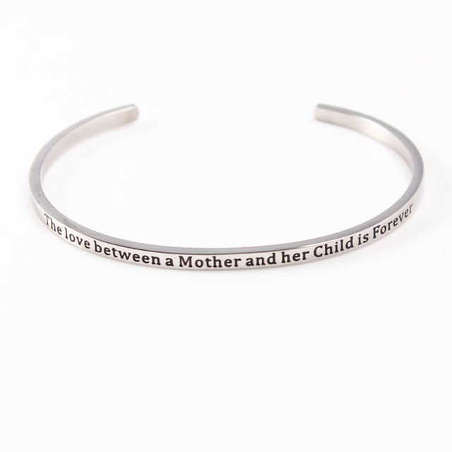 terbaru quotes mantra gelang stainless steel terbuka manset bangle