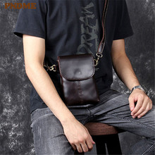 PNDME vintage simple oil wax leather mensdiagonal bag casual handmade genuine cowhide small shoulder crossbody bags