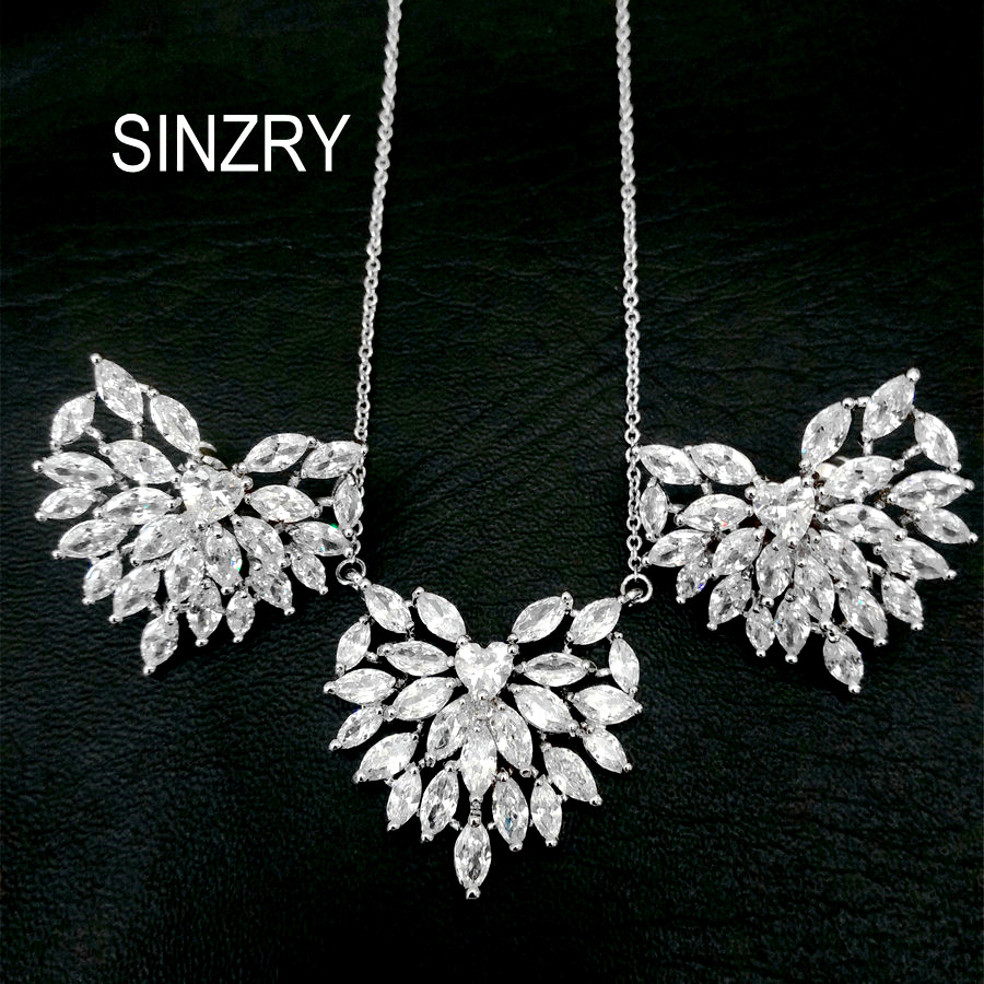 SINZRY Sweety jewelry AAA Cubic Zirconia brilliant Jewelry Sets elegant heart shape pendant necklaces earring sets for brides