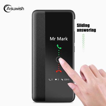 Inteligentny widok klapki skórzane etui na telefony dla Huawei P30 P40 Pro P20 P 30 20 Lite P30pro P20pro 20 Pro 30 Pro okno szczupła Funda twarde tanie i dobre opinie Asuwish Etui z klapką Flip Cover Leather Case With Smart Touch View P30 Pro Zwykły Matowy Heavy Duty Ochrony Anti-knock