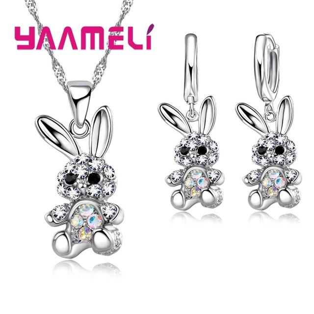 Hermosos lindos regalos de conejo para mujeres niñas 925 conjuntos de joyas de plata de ley AB color Cubic Zircon collar pendientes colgantes
