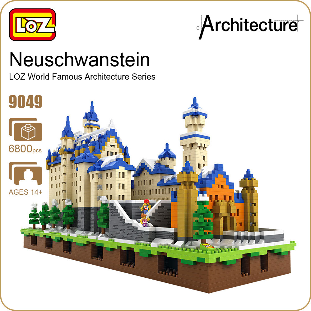LOZ Diamond Blocks Architecture Toys Schloss Neuschwanstein Castle Model New Swan Stone Castle Blocks Building Set Bricks 9049 loz mini diamond building block world famous architecture nanoblock easter island moai portrait stone model educational toys