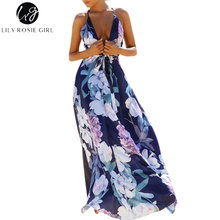 Lily Rosie Girl Blue Floral Print Sexy Party Strap Women Dress Deep V Neck Backless Boho Summer Beach Maxi Long Dresses Vestidos