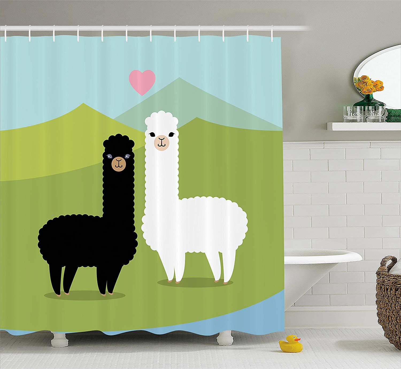 Llama Shower Curtain Alpacas In Love In The Mountains Fauna