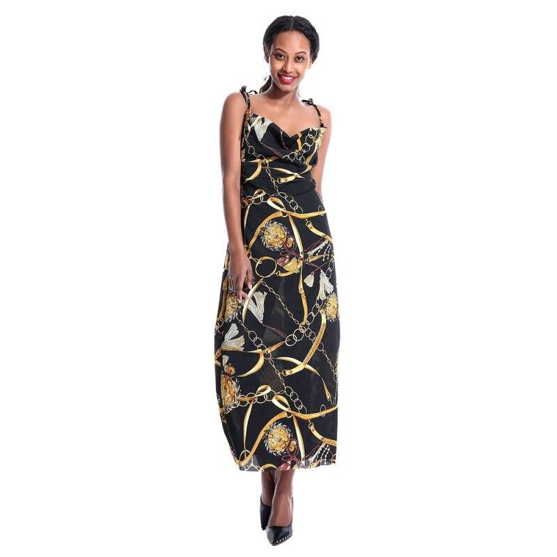 European And American Women\s Fashion Chain Printed Satin Strap Dress Female Long