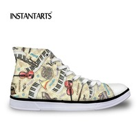 INSTANTARTS Cartoon Guitar Printing High top Canvas Shoes Woman Zapatos Mujer Leisure Girls Flat Ladies Lace up Vulcanized Shoes