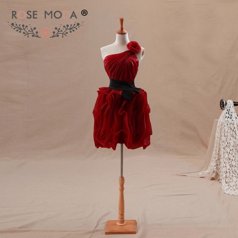 Rose Moda One Shoulder Burgundy Short Homecoming Dress with Black Sash Xmas Party Dress 2018