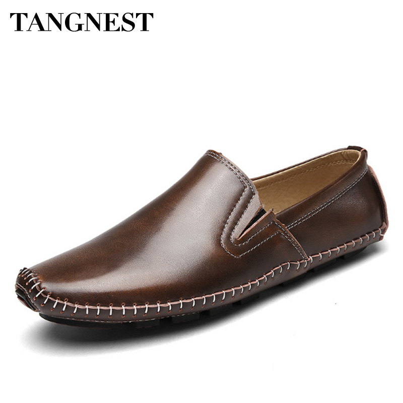 Tangnest Men Genuine Leather Casual Shoes Light Retro Style Men Shoes Comfortable Loafers Non-slip Men Driving Shoes branded men s penny loafes casual men s full grain leather emboss crocodile boat shoes slip on breathable moccasin driving shoes