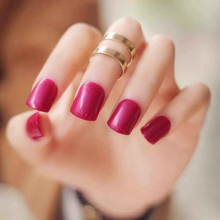 High quality pure color series Dark rose red color false nails set ...
