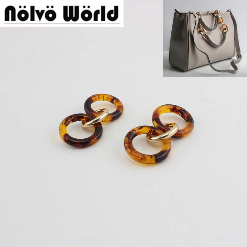 20-40pcs Solid Alloy Circle Acrylic Sexy Leopard Round Chain Purses Handbags Bags Handle Popular Handles For Handmade Bags Purse