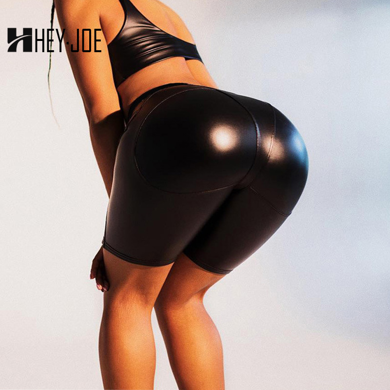 HEYJOE Fashion PU Leather   Shorts   For Women Sexy Push Up Heart Crop Leggins High Waist Fitness Cycling New Slim   Shorts   Fitness