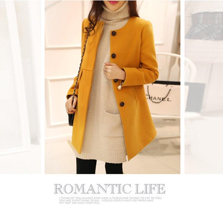 New 19 Spring Autumn Plus Size Wool Coat Women Loose A-aline Long Sleeved O-neck Medium Long Black Yellow Korean Coat Casacos 5