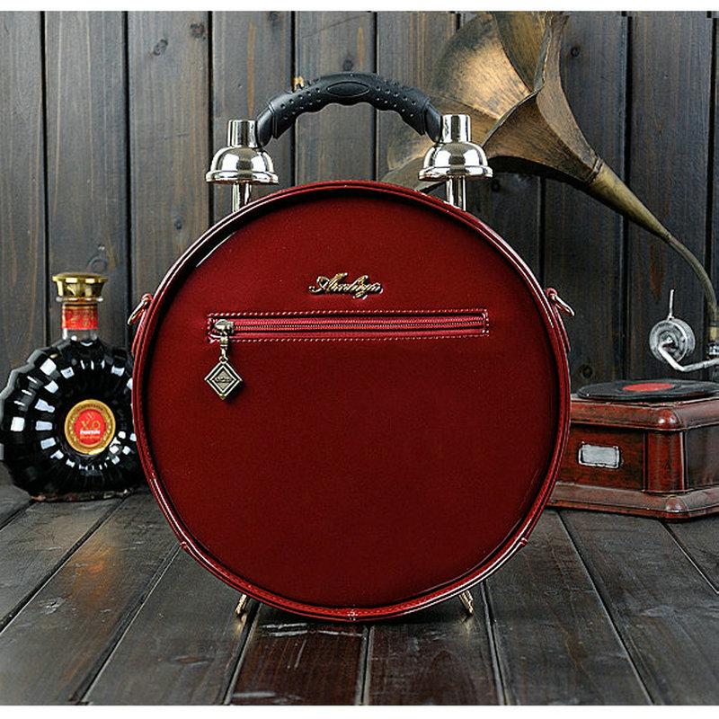 Noir Unique Designer À Red Alarme Main wine Sac Temps Messenger marron Femmes Forme Machine Nouveau Cadeau Ronde De Vintage k0ON8wXnP