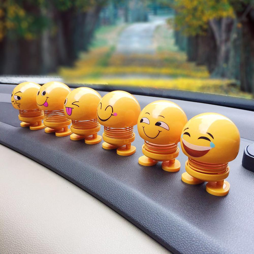 2019 creative car decoration jewelry spring shaking head doll expression pack
