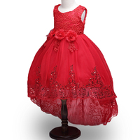 New Christmas Flower Girls Dress Lace Embroidery Trumpet Wedding Pageant Birthday Summer Princess Party Dresses Clothes