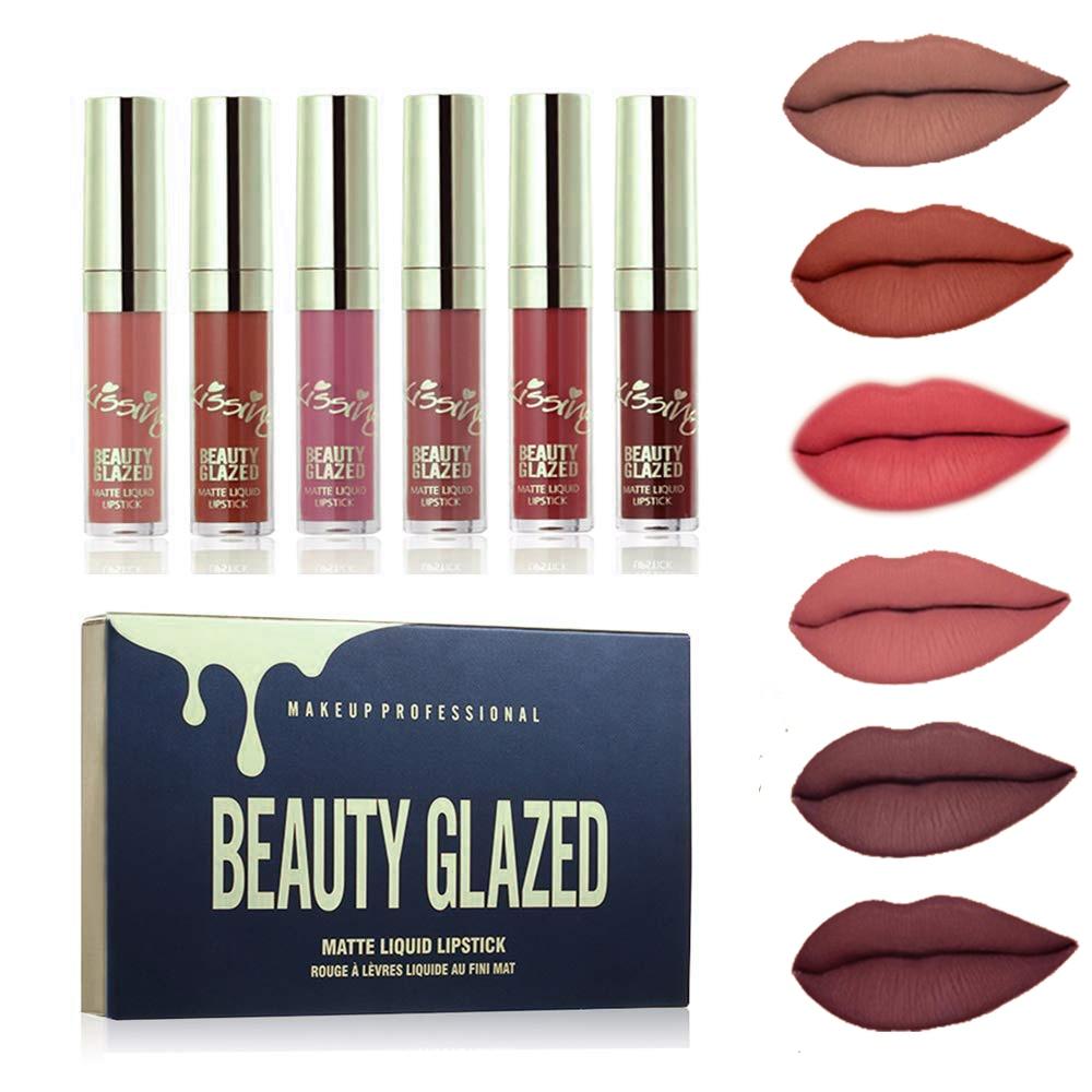 Matte Velvety Liquid Lipstick Beauty Glazed New Arrival 6pcs Lipgloss Waterproof Long Lasting Non-Stick Cup Lip Stick Set 4