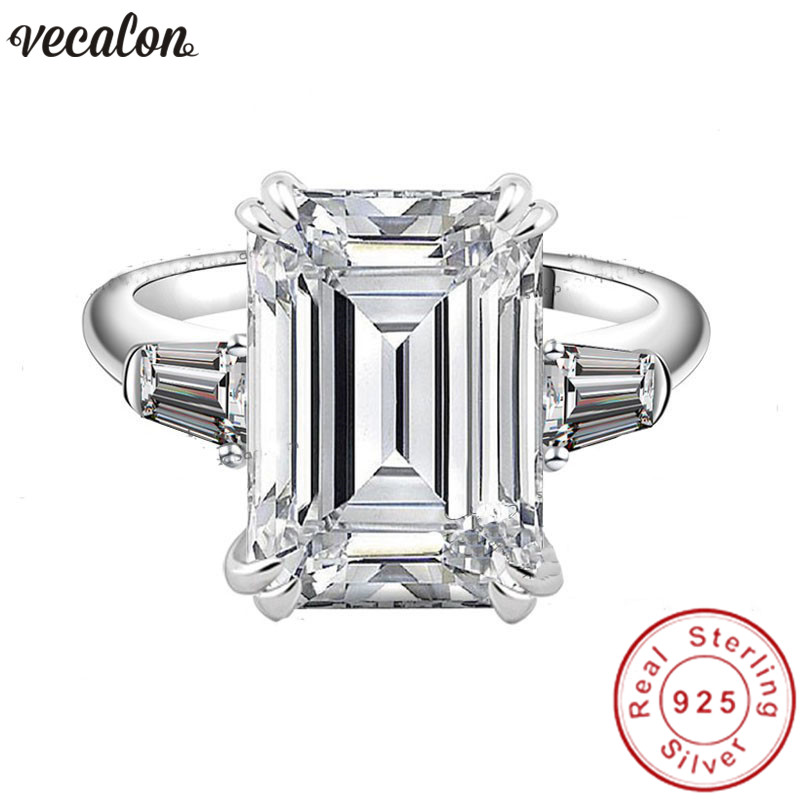 Vecalon Princess Promise ring Real Soild 925 Sterling Silver 5A cz Engagement wedding Band rings for women Bridal Finger jewelry men wedding band cz rings jewelry silver color anillos bague aneis ringen promise couple engagement rings for women