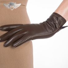 England Style  Women Genuine Leather Gloves Top Quality Goatskin Winter Sheepskin Warm Driving 1501