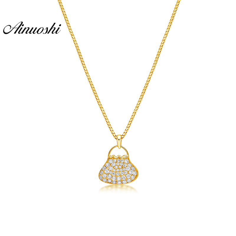 AINUOSHI 10K Solid Yellow Gold Pendant Mini Bag Pendant SONA Diamond Women Men Jewelry Lovely Bag Design 1.6g Separate PendantAINUOSHI 10K Solid Yellow Gold Pendant Mini Bag Pendant SONA Diamond Women Men Jewelry Lovely Bag Design 1.6g Separate Pendant