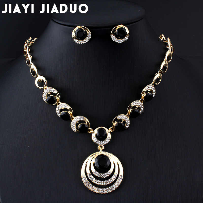 jiayijiaduo Fashion Wedding Jewelry sets gold-color women Round Pendant  Necklace Earrings black dress accessories Drop shipping